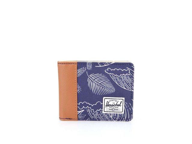 Modrá peněženka s palmovým vzorem a hnědým lemem Herschel Edward