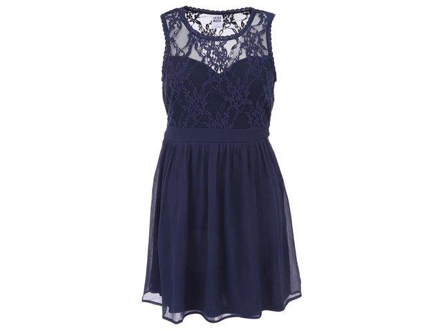Tmavě modré šaty s krajkou Vero Moda Neja