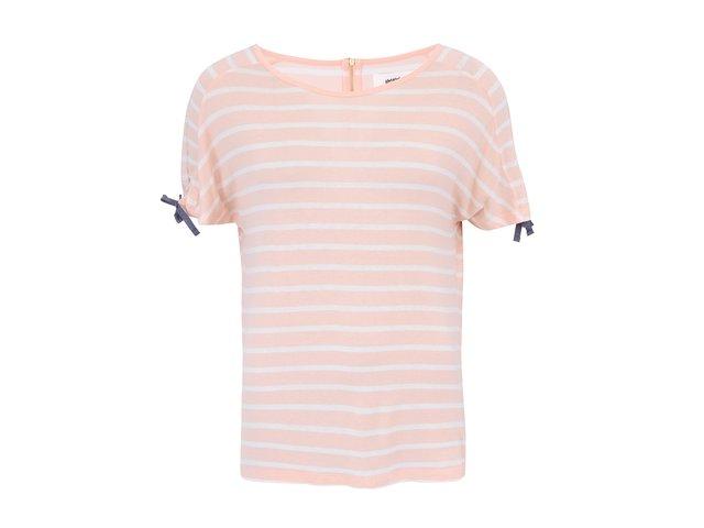 Meruňkové tričko s bílými pruhy Vero Moda Etly