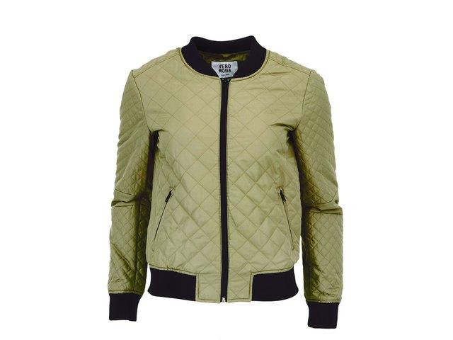 Khaki prošívaná bunda na zip Vero Moda Venice