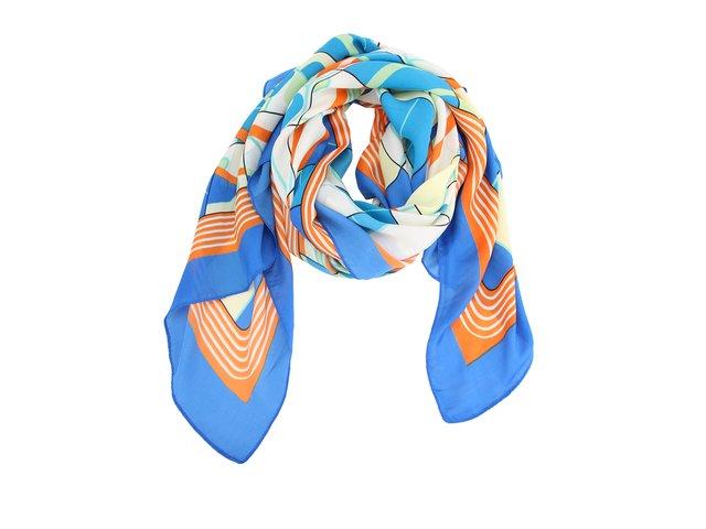 Oranžovo-modrý vzorovaný šátek INVUU London