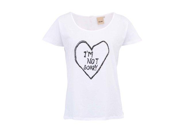 Bílé volnější tričko s nápisem ICHI Jackie