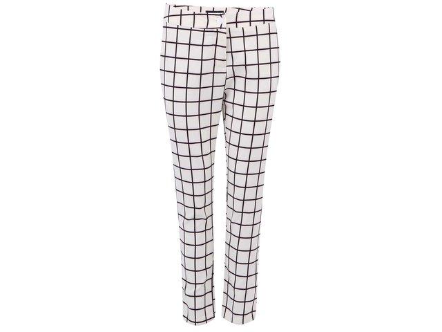 Krémové kostkované kalhoty s vysokým pasem AX Paris
