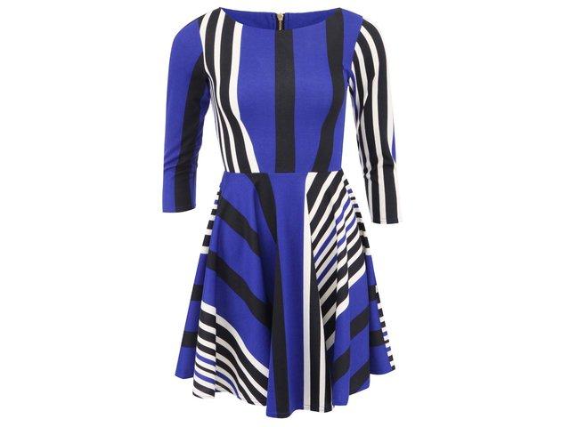 Modré šaty s krémovými a černými pruhy Closet