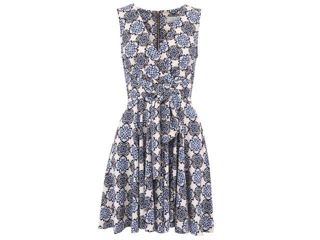 Krémové šaty s modrými vzory Closet