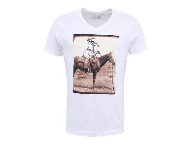 Krémové triko s potiskem Blend Cowboy