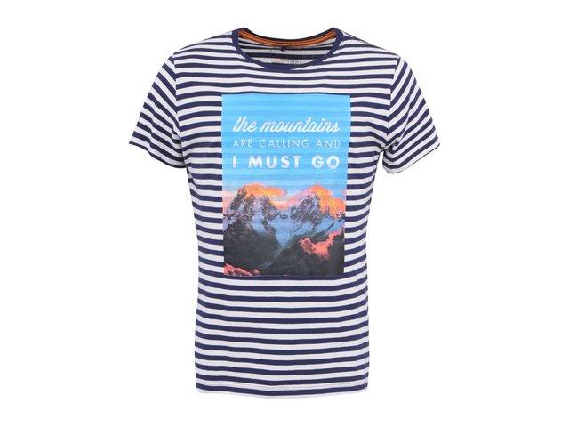 Modré pruhované triko s potiskem Blend