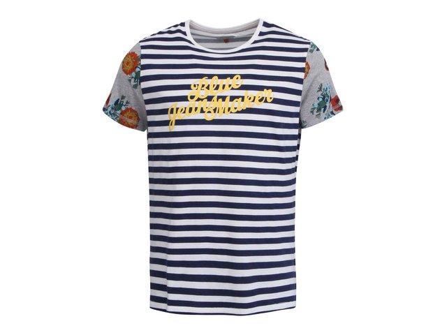 Modro-bílé pruhované triko s květovanými rukávy Blend