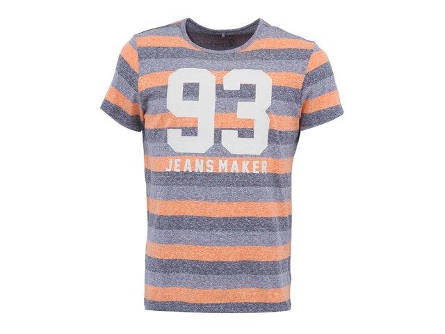 Oranžovo-šedé pruhované triko s nápisem Blend