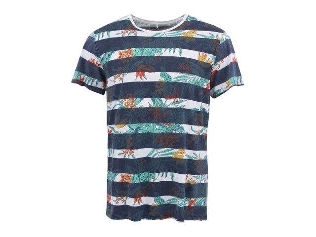 Modro-bílé pruhované triko se vzorem Blend