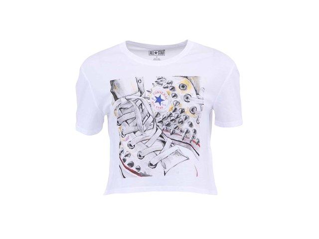 Bílé kratší dámské tričko s potiskem Converse