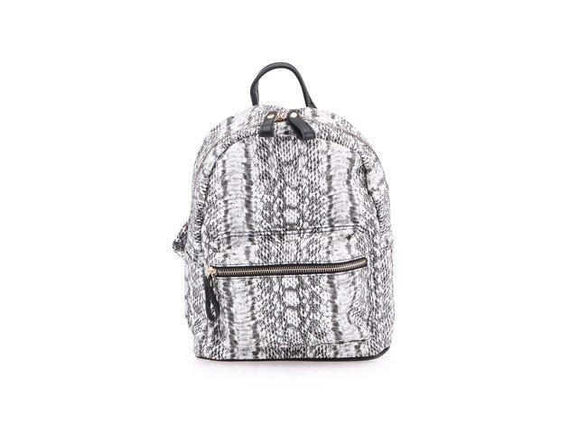 Černo-šedý menší batoh s hadím printem Clenapal
