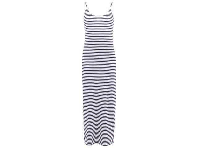 Bílé dlouhé šaty s modrými pruhy Vero Moda Nanna