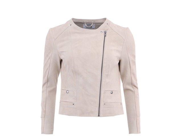 Béžová kožená bunda na zip Vero Moda Forever