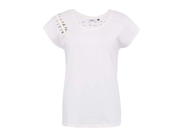 Bílé tričko s průstřihy na zádech ONLY Mavi