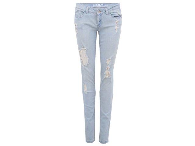 Modré džíny s ošoupaným efektem ONLY Coral