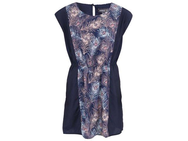 Tmavě modré šaty s motivem pavích per Apricot
