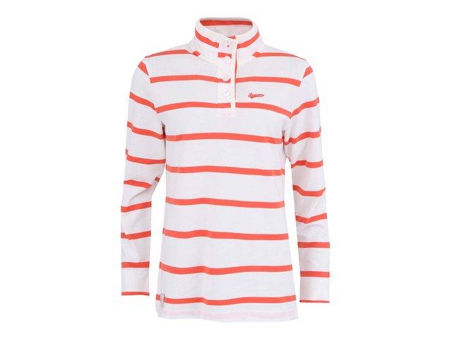 Korálovo-bílé dámské pruhované triko s dlouhým rukávem Brakeburn Ferrybridge