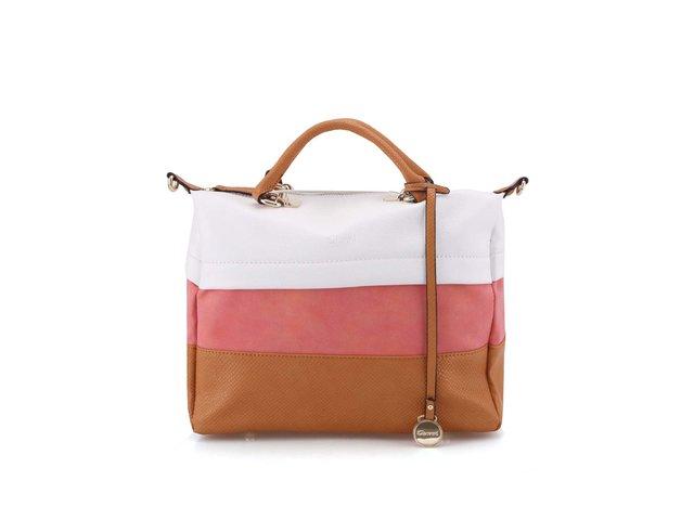 Hnědo-bílo-růžová větší taška přes rameno Gionni Acacia