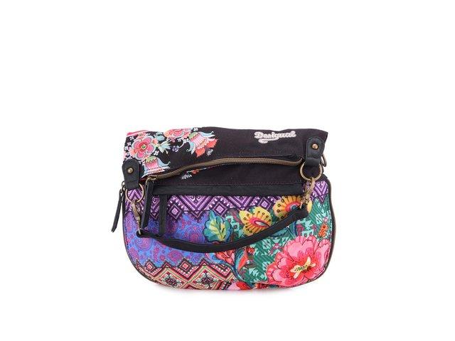 Černá vzorovaná kabelka s barevnými květy Desigual Canefa