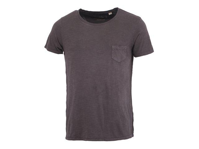Tmavě hnědé triko s kapsou Dstrezzed