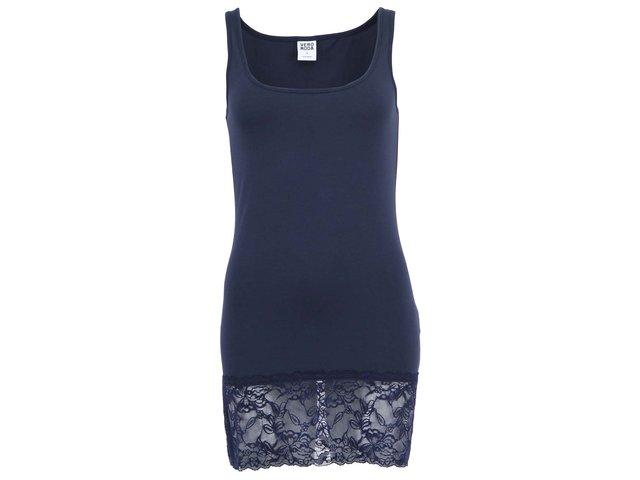 Tmavě modré tílko s krajkovým lemem Vero Moda