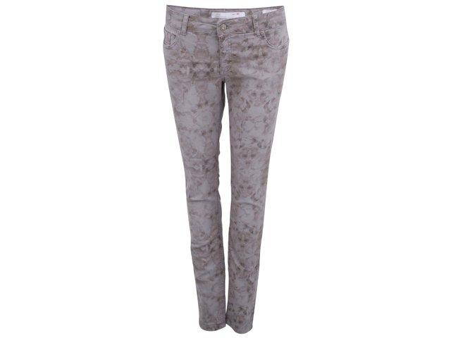 Šedé dámské skinny džíny s květinovým potiskem YAYA