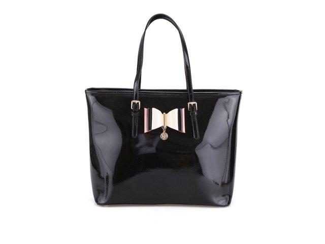 Černá lesklá kabelka s ozdobnou mašlí LYDC