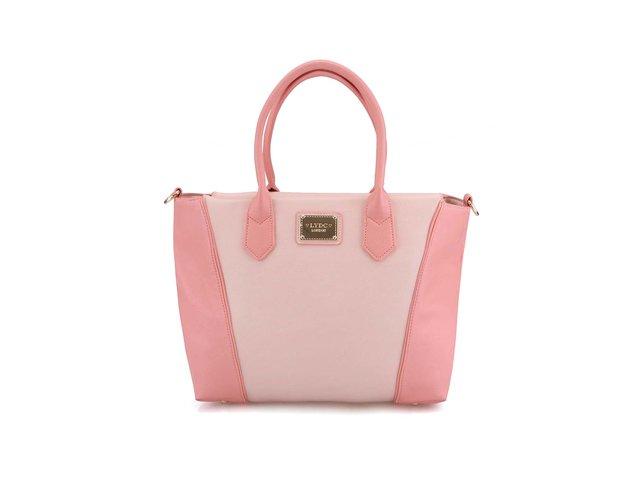 Světle růžová větší kabelka s detaily ve zlaté barvě LYDC
