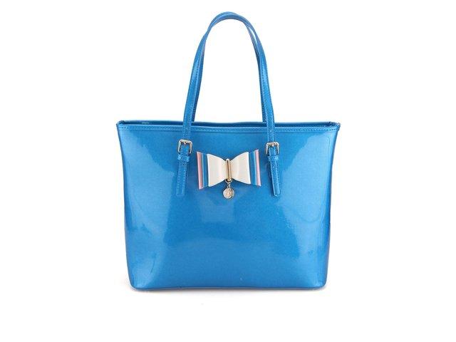 Modrá lesklá kabelka s ozdobnou mašlí LYDC
