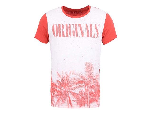 Červeno-bílé triko s potiskem Jack & Jones Laze