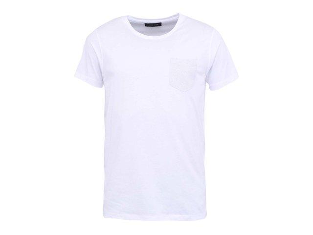 Bílé triko s náprsní kapsou s krátkými rukávy Selected Homme Christof