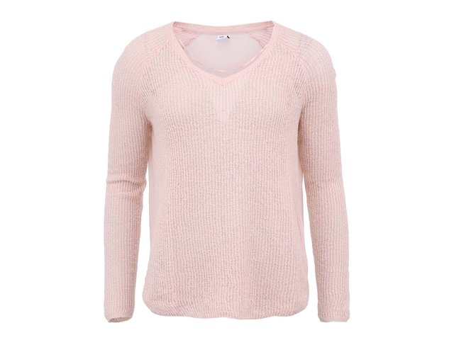 Růžový svetr s výstřihem do