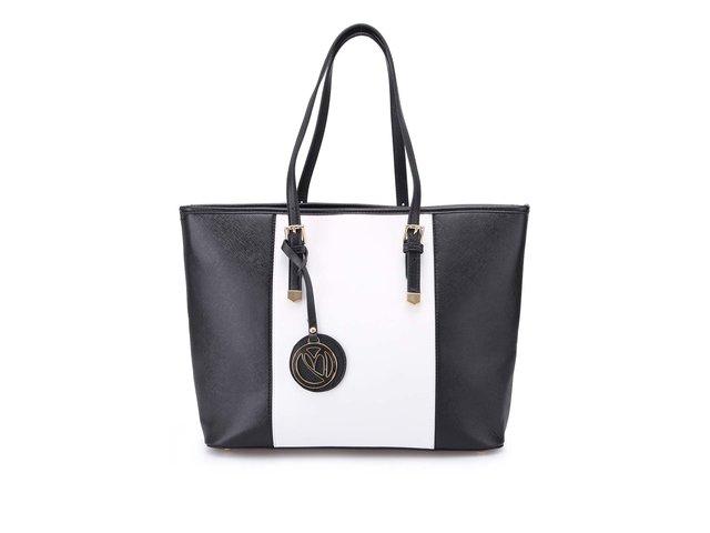 Černo-bílá velká kabelka Gessy