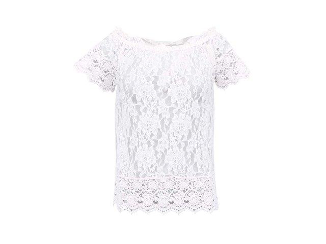 Bílý krajkovaný top s krátkými rukávy Vero Moda Gianna