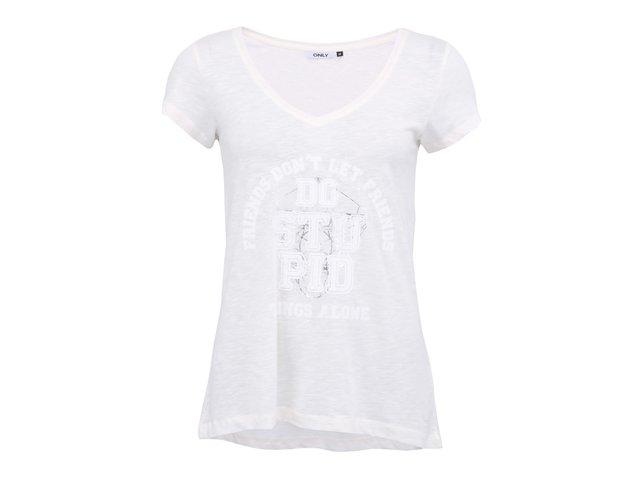 Bílé tričko s nápisem ONLY Gry