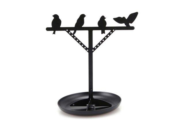 Černý stojan na šperky s ptáčky Kikkerland Bird