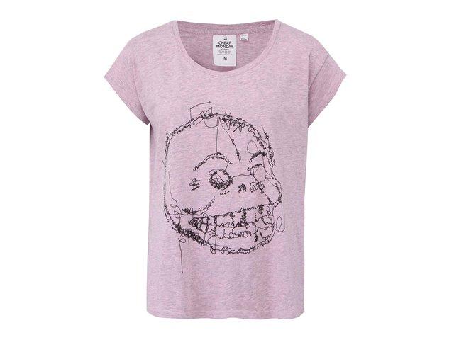 Růžové volné dámské tričko Cheap Monday Skull