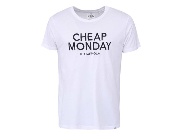 Bílé pánské triko s nápisem Cheap Monday Embroidery