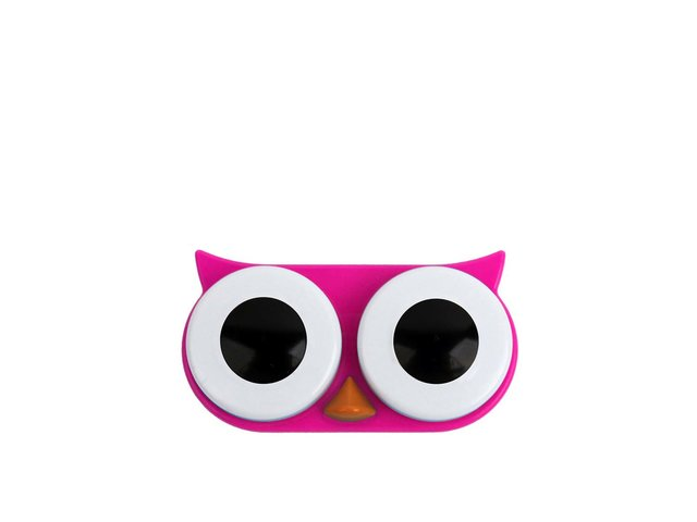 Růžové pouzdro na kontaktní čočky Kikkerland Sova