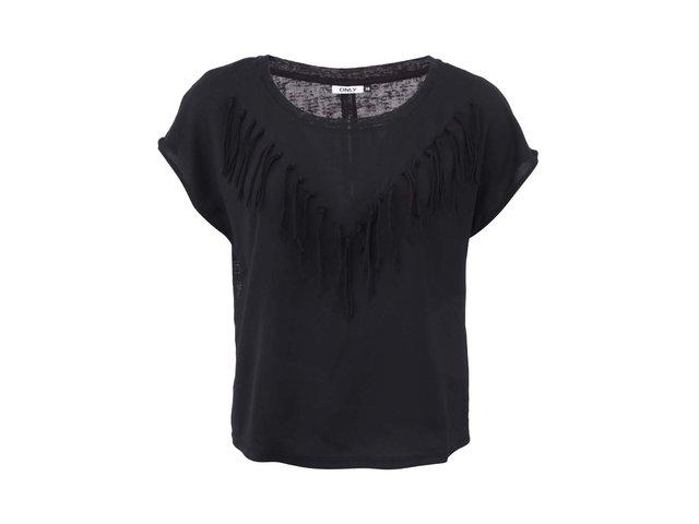 Černé tričko s třásněmi ONLY Vanessa
