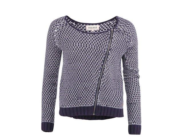 Bílo-modrý svetr s asymetrickým zapínáním Desires Drow