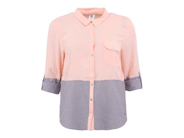 Šedo-meruňková košile s 3/4 rukávy Vero Moda Mixi