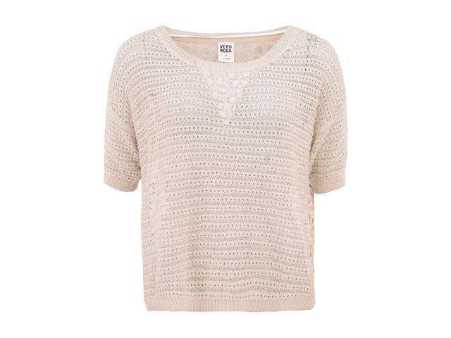 Krémový perforovaný svetr s krátkými rukávy Vero Moda Nichelle