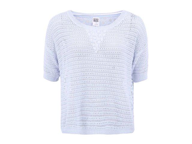 Světle modrý perforovaný svetr s krátkými rukávy Vero Moda Nichelle