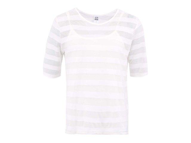 Bílé tričko s 3/4 rukávem a pruhy Vero Moda Lana