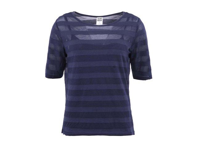 Tmavě modré tričko s 3/4 rukávem a pruhy Vero Moda Lana