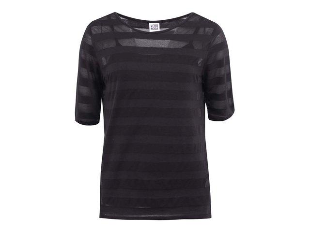 Černé tričko s 3/4 rukávem a pruhy Vero Moda Lana