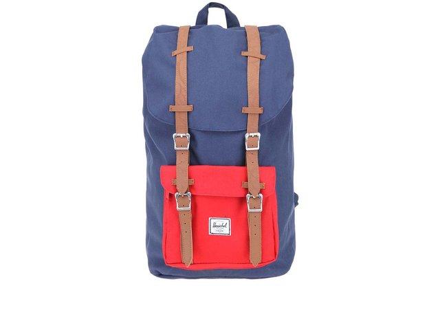 Tmavě modrý batoh s červenou kapsou Herschel Little America
