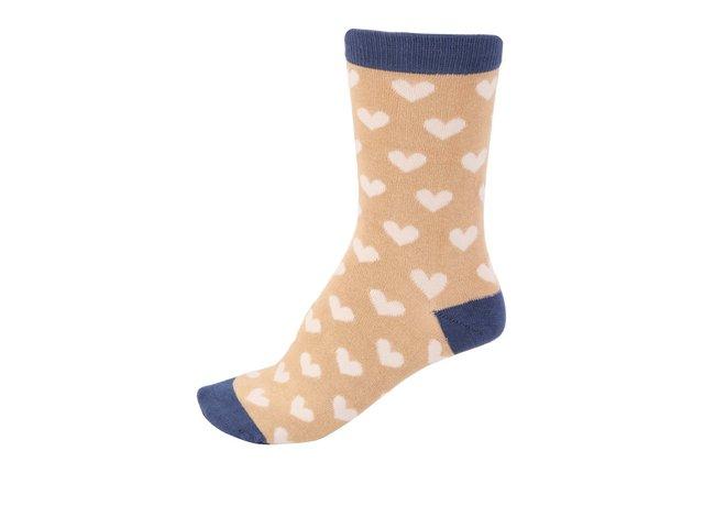 Hořčicové dámské bambusové ponožky se srdíčky Braintree Lover